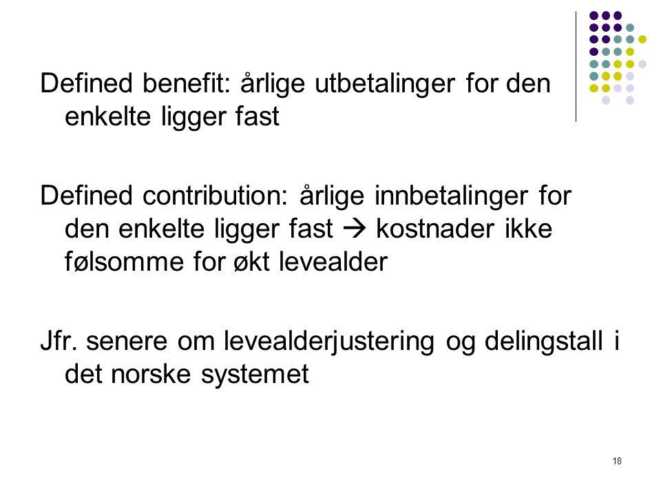 Defined benefit: årlige utbetalinger for den enkelte ligger fast Defined contribution: årlige innbetalinger for den enkelte ligger fast  kostnader ikke følsomme for økt levealder Jfr.
