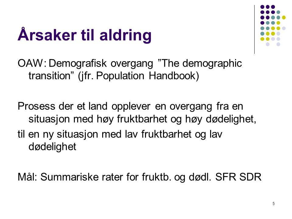 Årsaker til aldring OAW: Demografisk overgang The demographic transition (jfr. Population Handbook)
