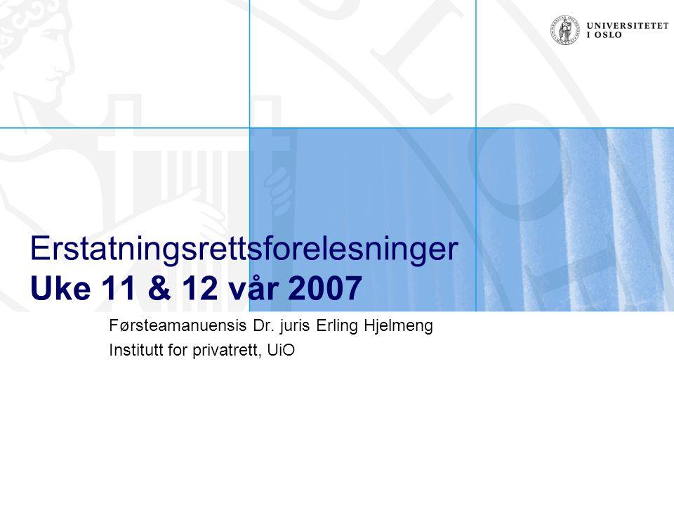 Erstatningsrettsforelesninger Uke 11 & 12 vår 2007