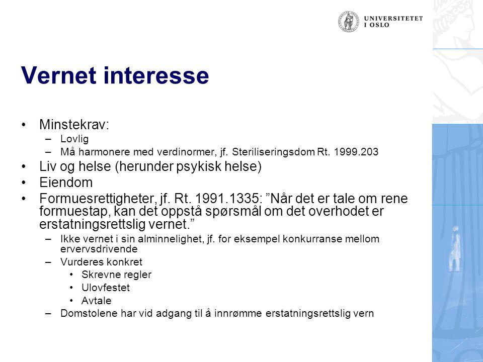 Vernet interesse Minstekrav: Liv og helse (herunder psykisk helse)