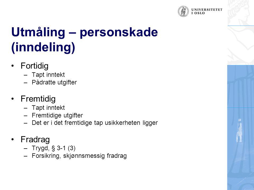 Utmåling – personskade (inndeling)