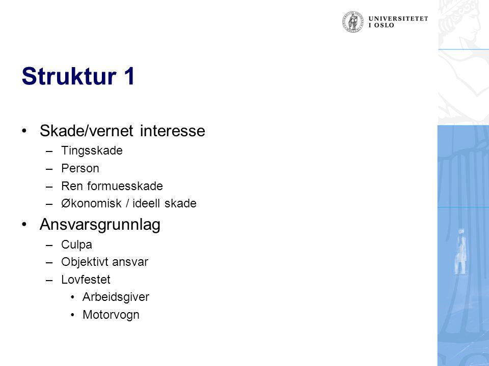 Struktur 1 Skade/vernet interesse Ansvarsgrunnlag Tingsskade Person