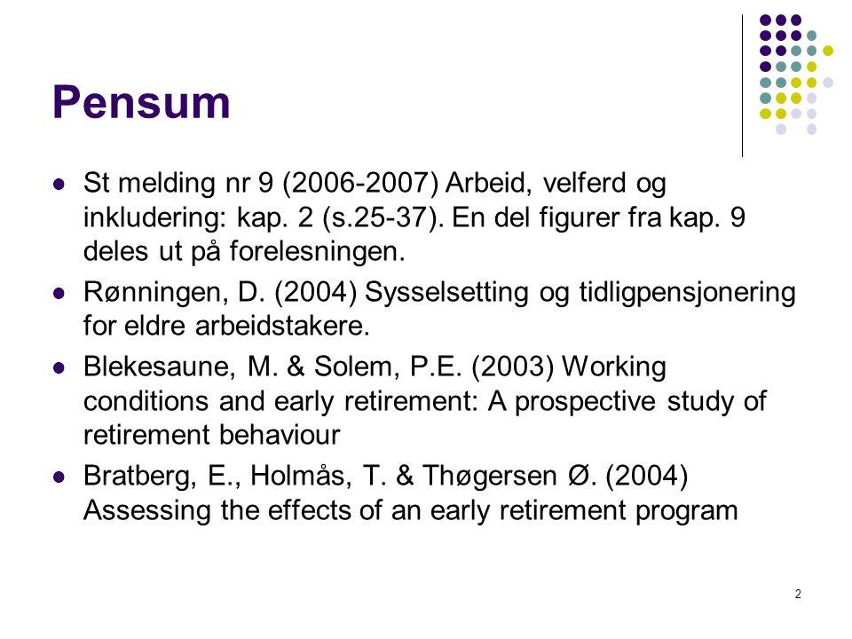 Pensum St melding nr 9 (2006-2007) Arbeid, velferd og inkludering: kap. 2 (s.25-37). En del figurer fra kap. 9 deles ut på forelesningen.