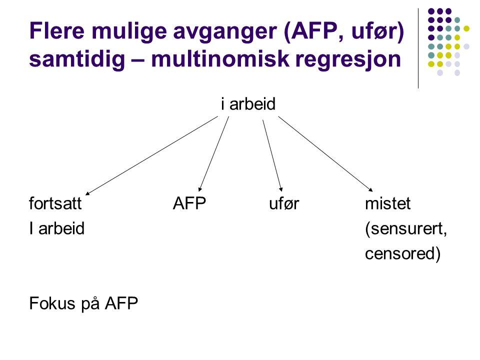 Flere mulige avganger (AFP, ufør) samtidig – multinomisk regresjon