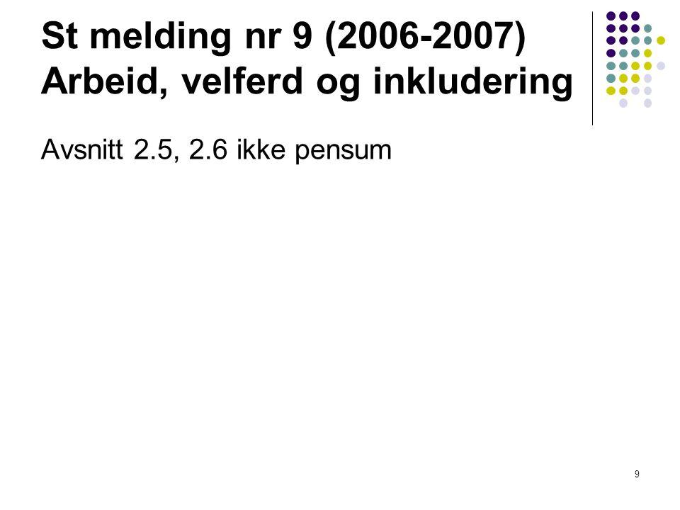 St melding nr 9 (2006-2007) Arbeid, velferd og inkludering