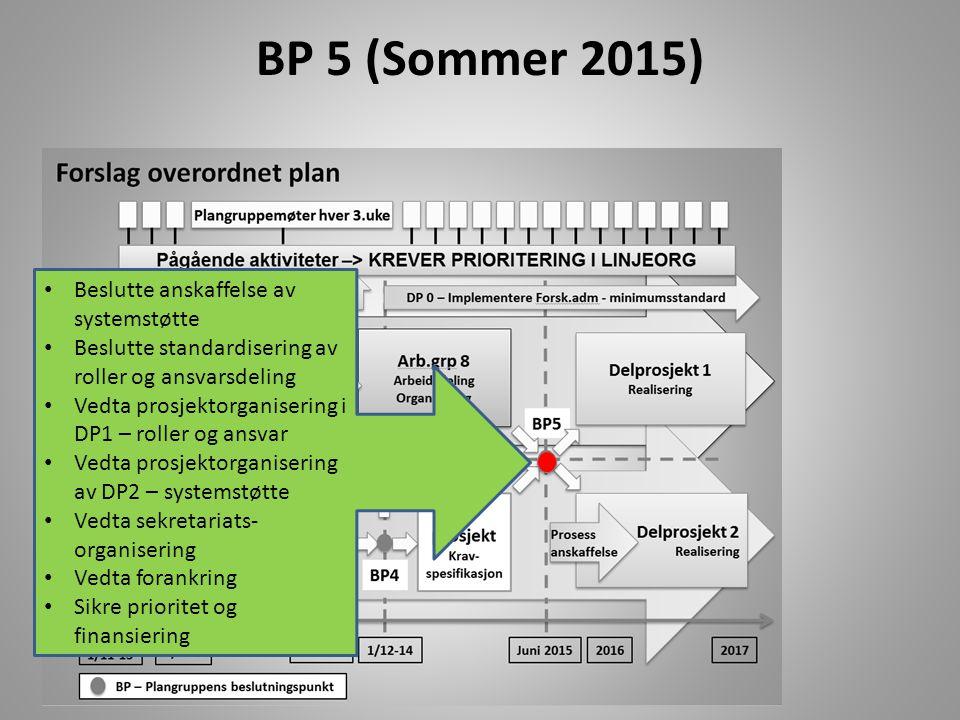 BP 5 (Sommer 2015) Beslutte anskaffelse av systemstøtte
