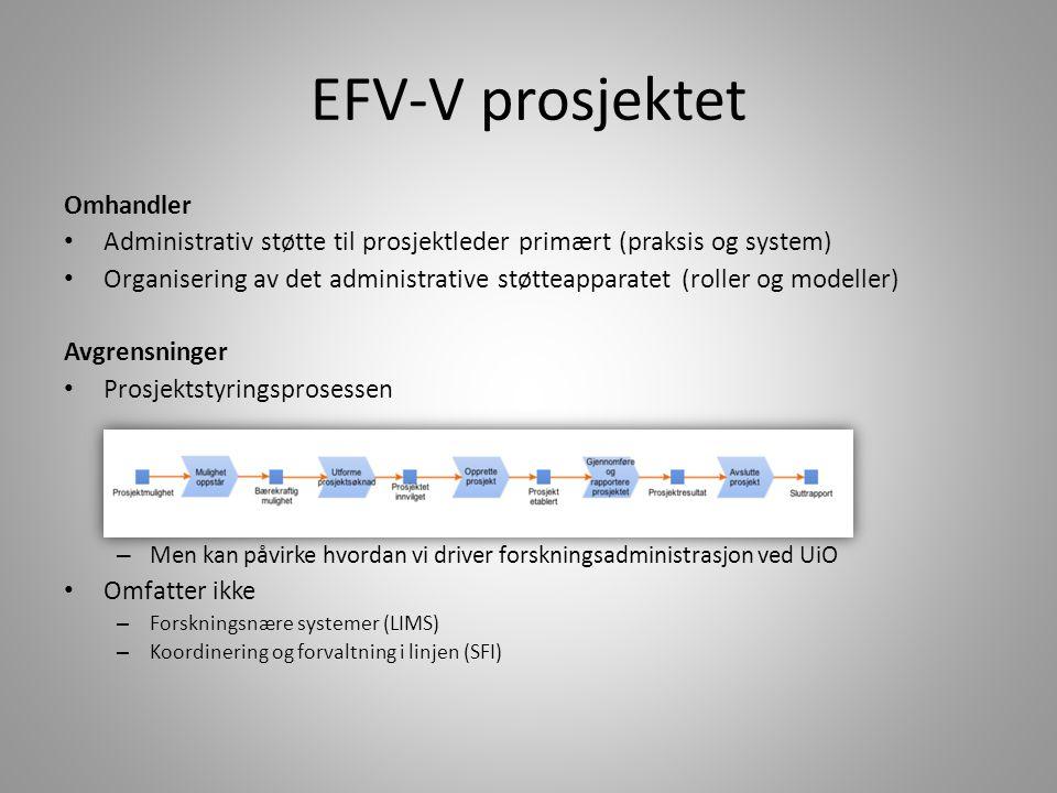 EFV-V prosjektet Omhandler