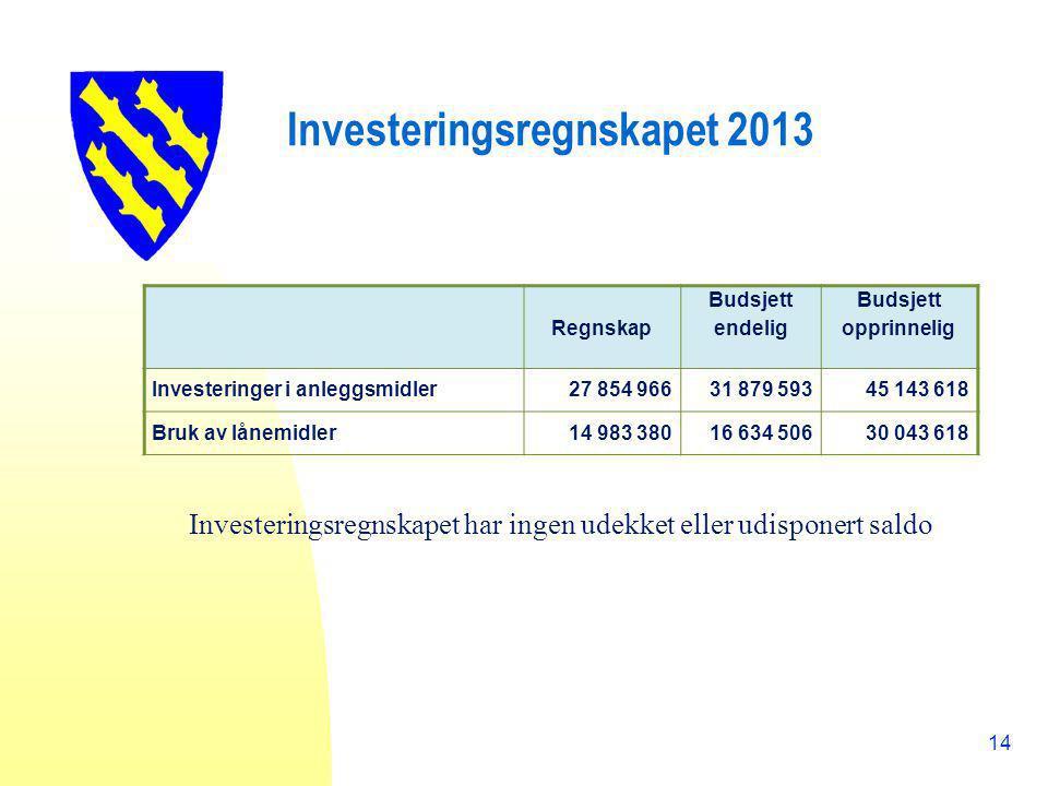 Investeringsregnskapet 2013