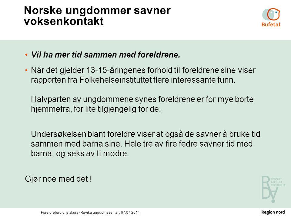 Norske ungdommer savner voksenkontakt