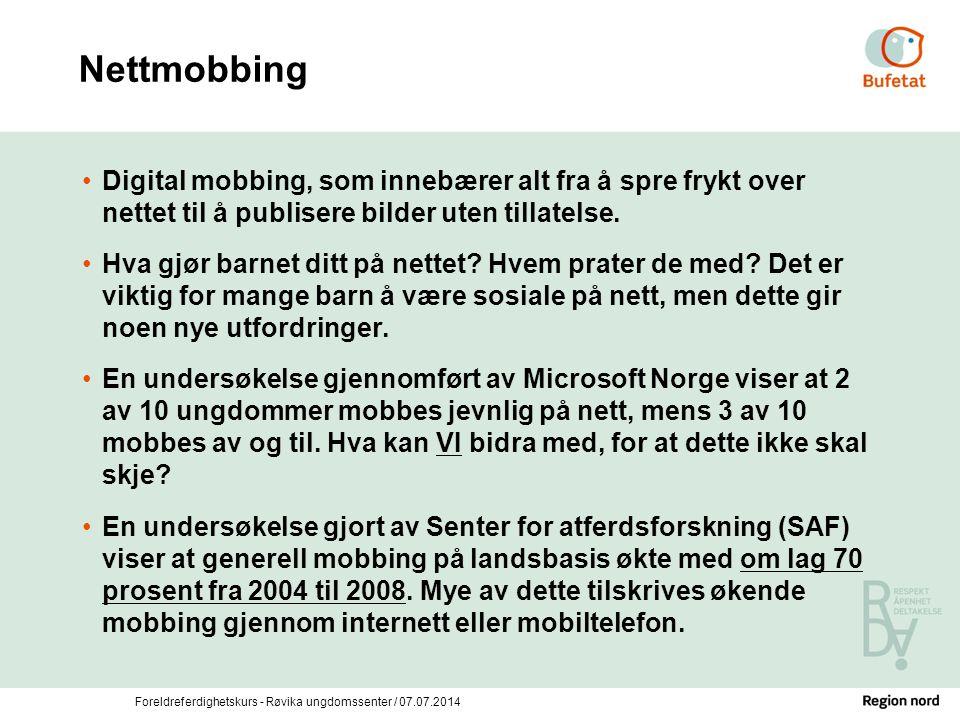 Nettmobbing Digital mobbing, som innebærer alt fra å spre frykt over nettet til å publisere bilder uten tillatelse.