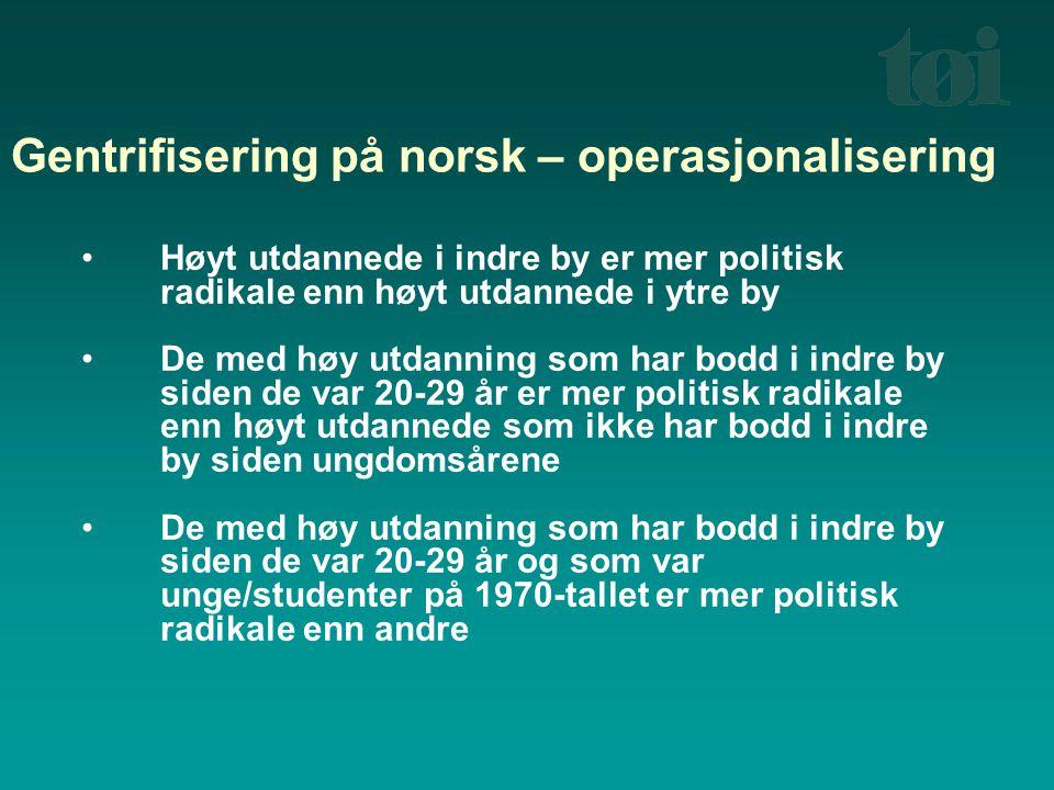 Gentrifisering på norsk – operasjonalisering