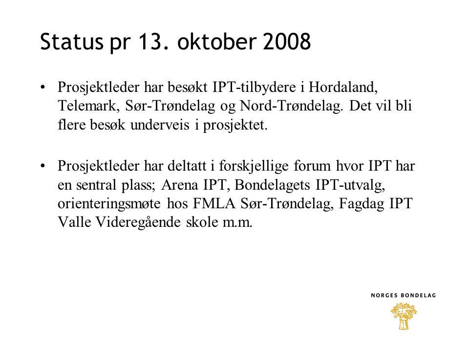 Status pr 13. oktober 2008