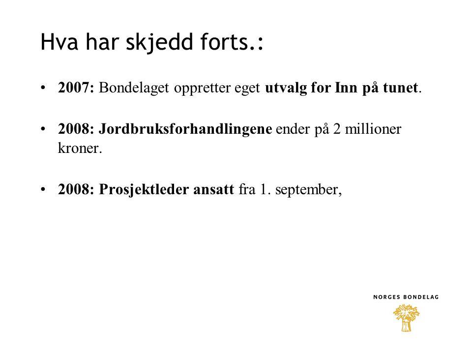 Hva har skjedd forts.: 2007: Bondelaget oppretter eget utvalg for Inn på tunet. 2008: Jordbruksforhandlingene ender på 2 millioner kroner.