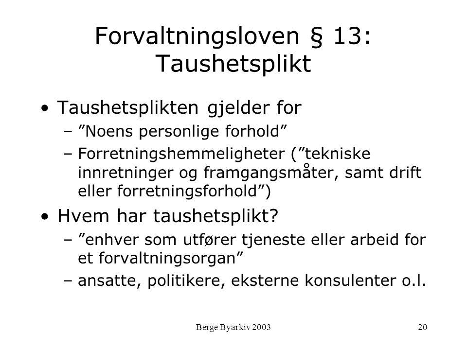 Forvaltningsloven § 13: Taushetsplikt
