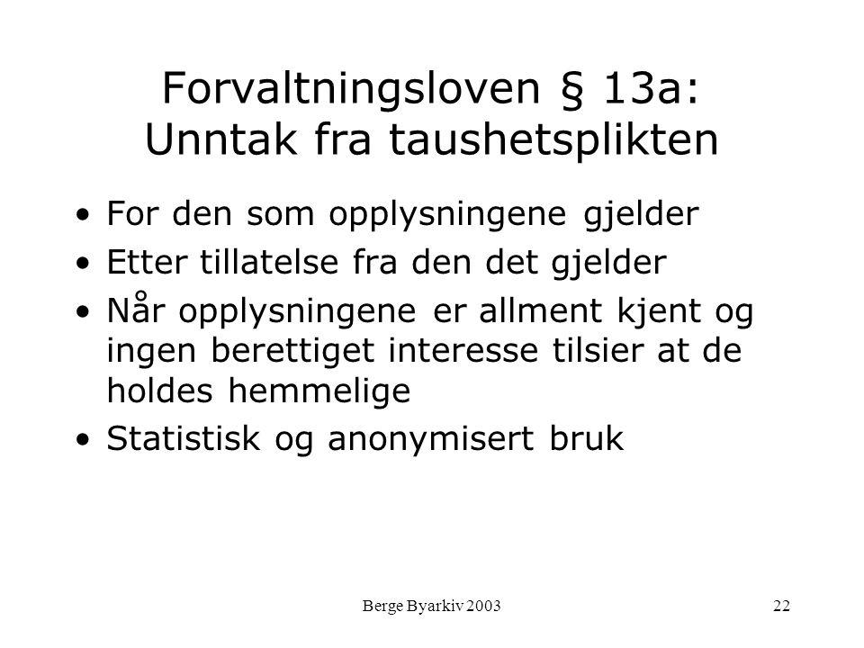 Forvaltningsloven § 13a: Unntak fra taushetsplikten