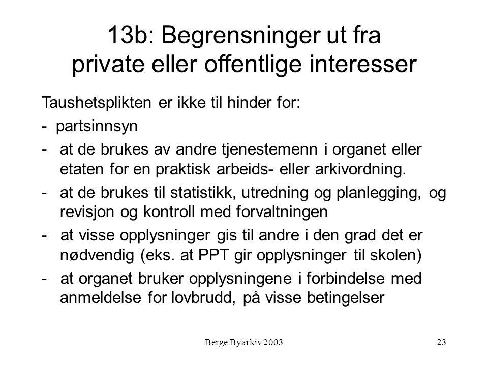 13b: Begrensninger ut fra private eller offentlige interesser