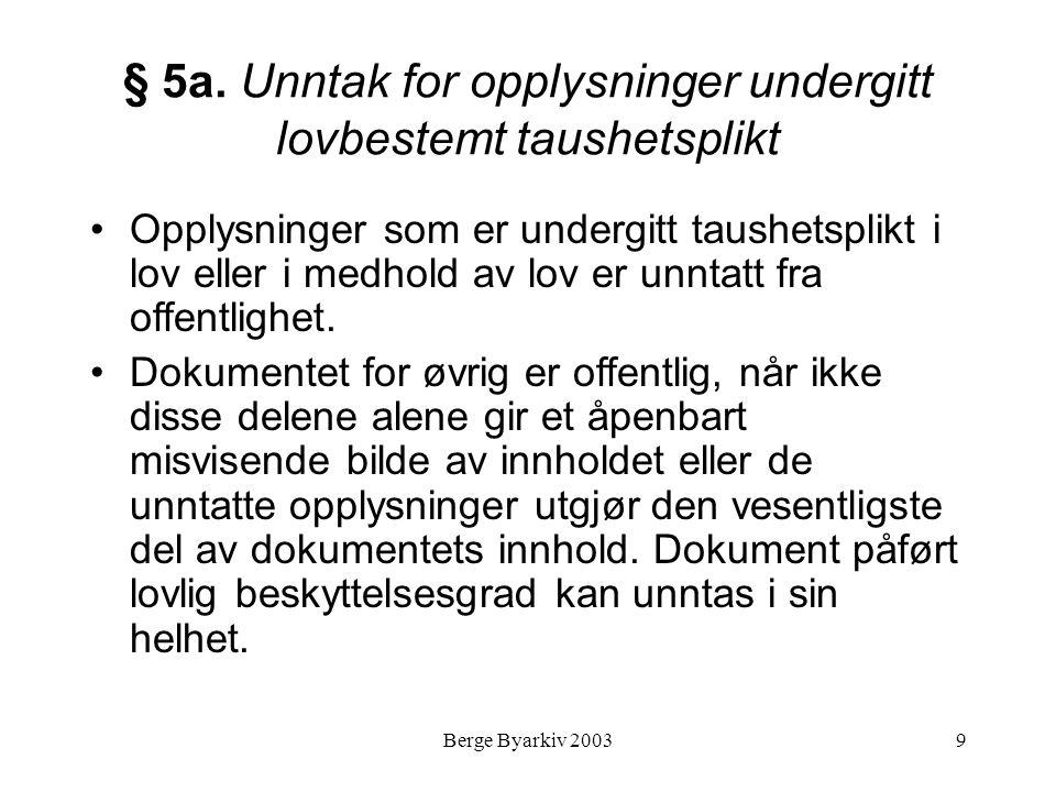 § 5a. Unntak for opplysninger undergitt lovbestemt taushetsplikt