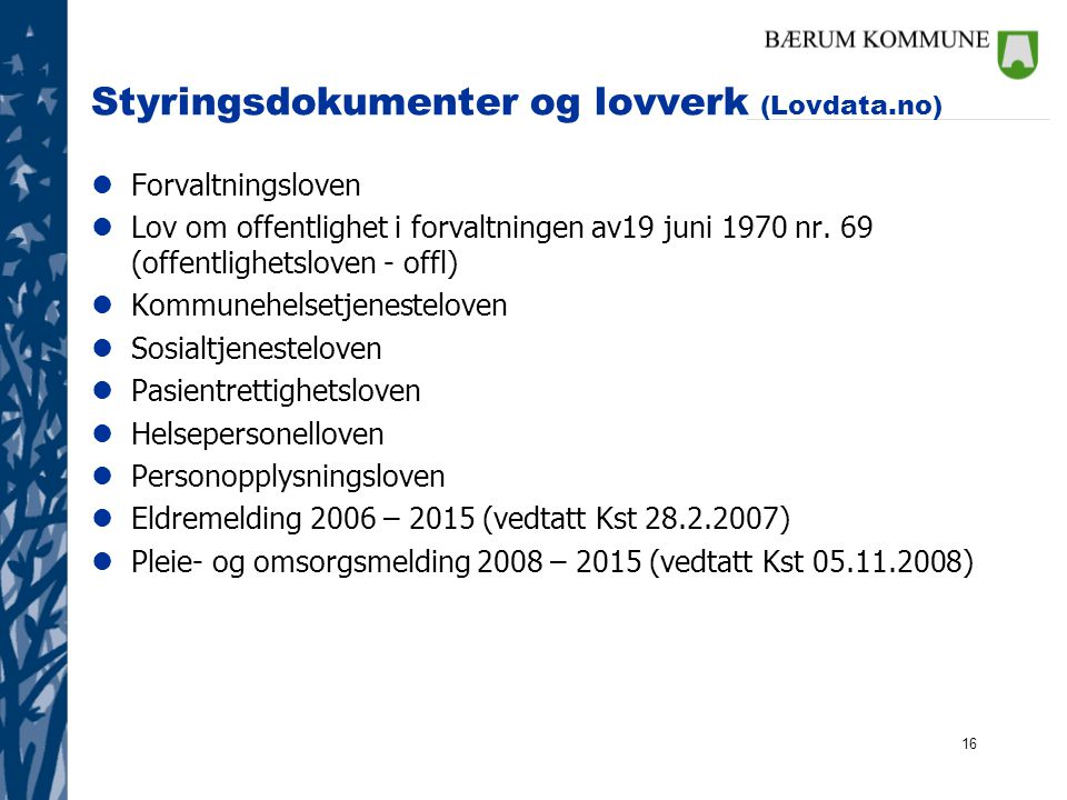 Styringsdokumenter og lovverk (Lovdata.no)