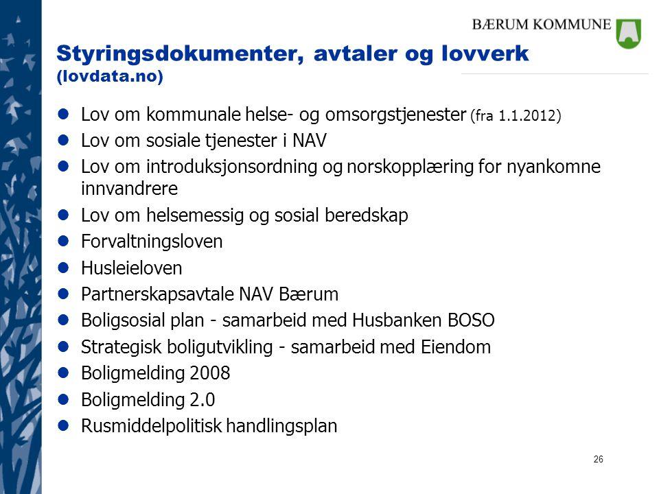 Styringsdokumenter, avtaler og lovverk (lovdata.no)