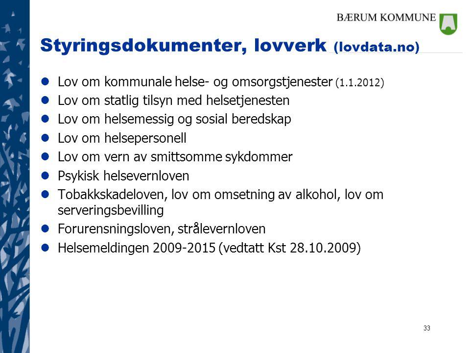 Styringsdokumenter, lovverk (lovdata.no)