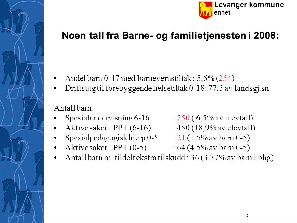 Noen tall fra Barne- og familietjenesten i 2008: