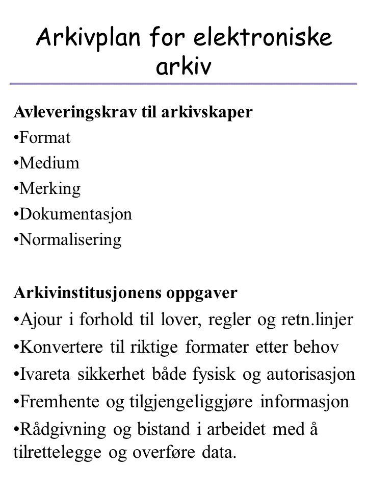 Arkivplan for elektroniske arkiv