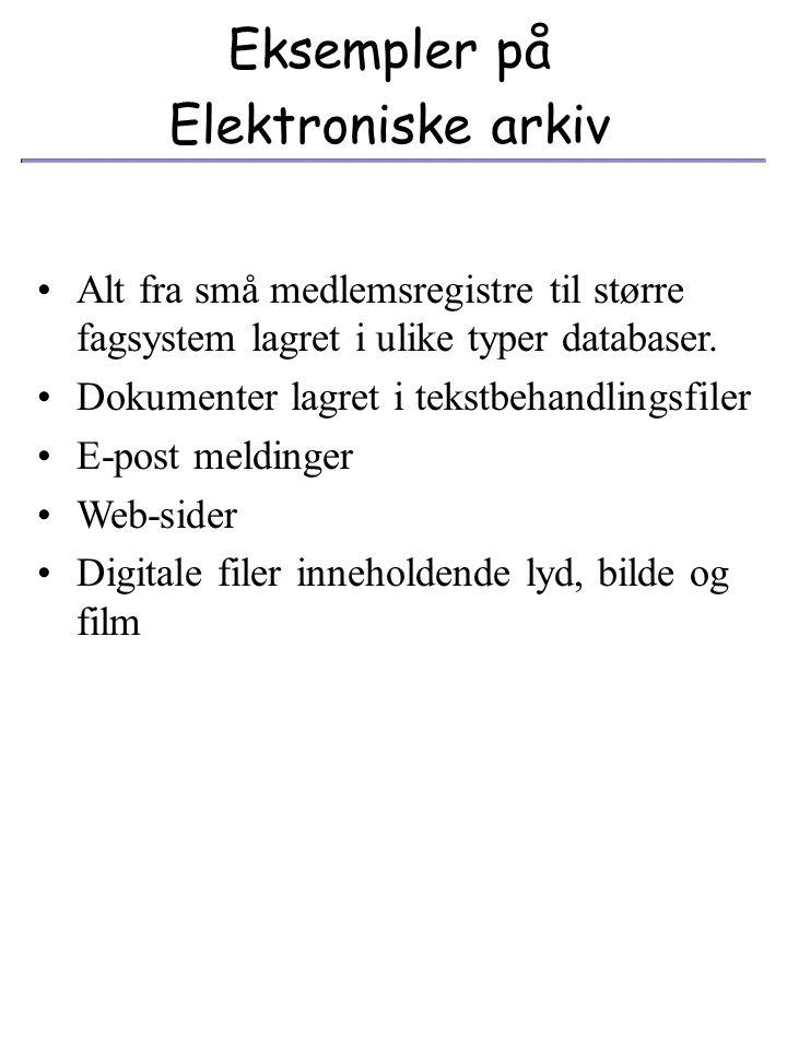 Eksempler på Elektroniske arkiv