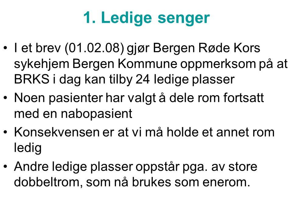 1. Ledige senger I et brev (01.02.08) gjør Bergen Røde Kors sykehjem Bergen Kommune oppmerksom på at BRKS i dag kan tilby 24 ledige plasser.