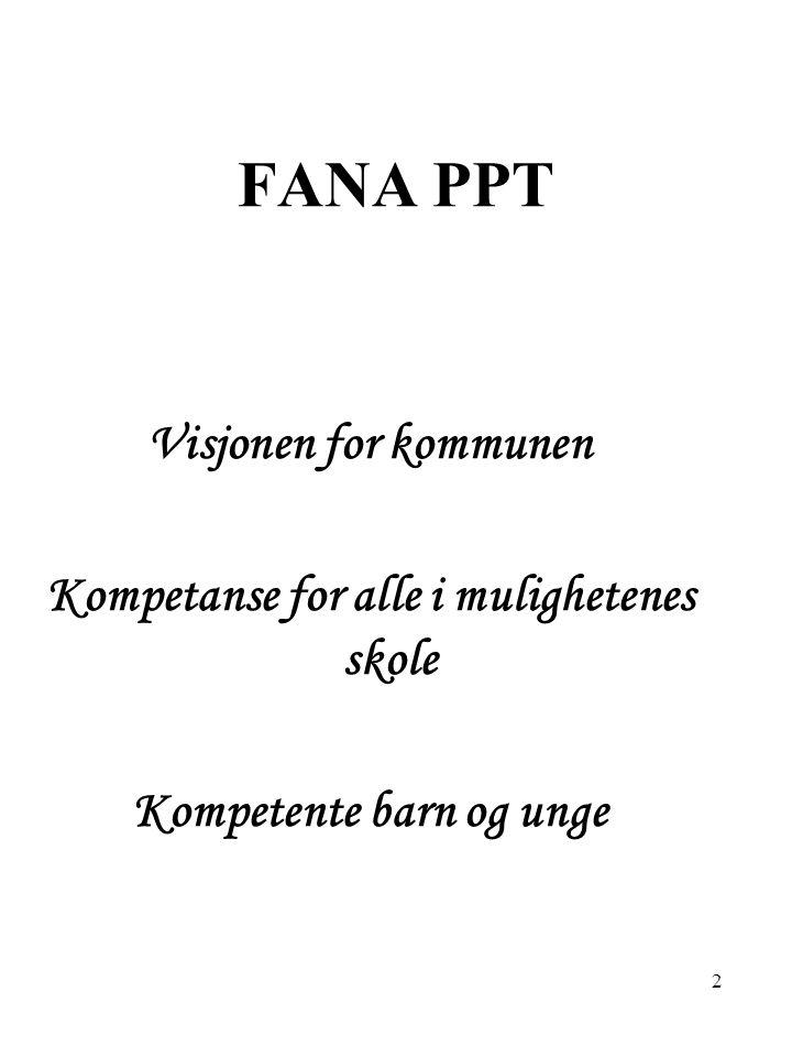 FANA PPT Visjonen for kommunen Kompetanse for alle i mulighetenes skole Kompetente barn og unge