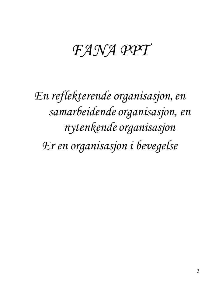 FANA PPT En reflekterende organisasjon, en samarbeidende organisasjon, en nytenkende organisasjon Er en organisasjon i bevegelse