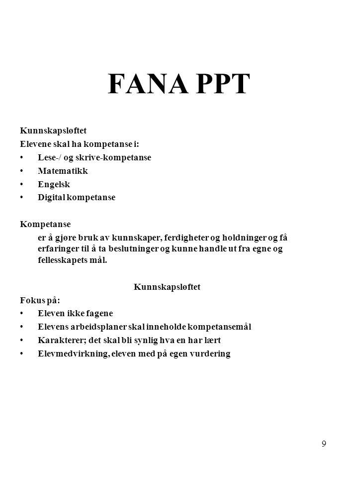 FANA PPT Kunnskapsløftet Elevene skal ha kompetanse i: