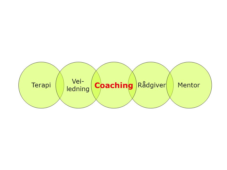Terapi Vei- ledning Coaching Rådgiver Mentor