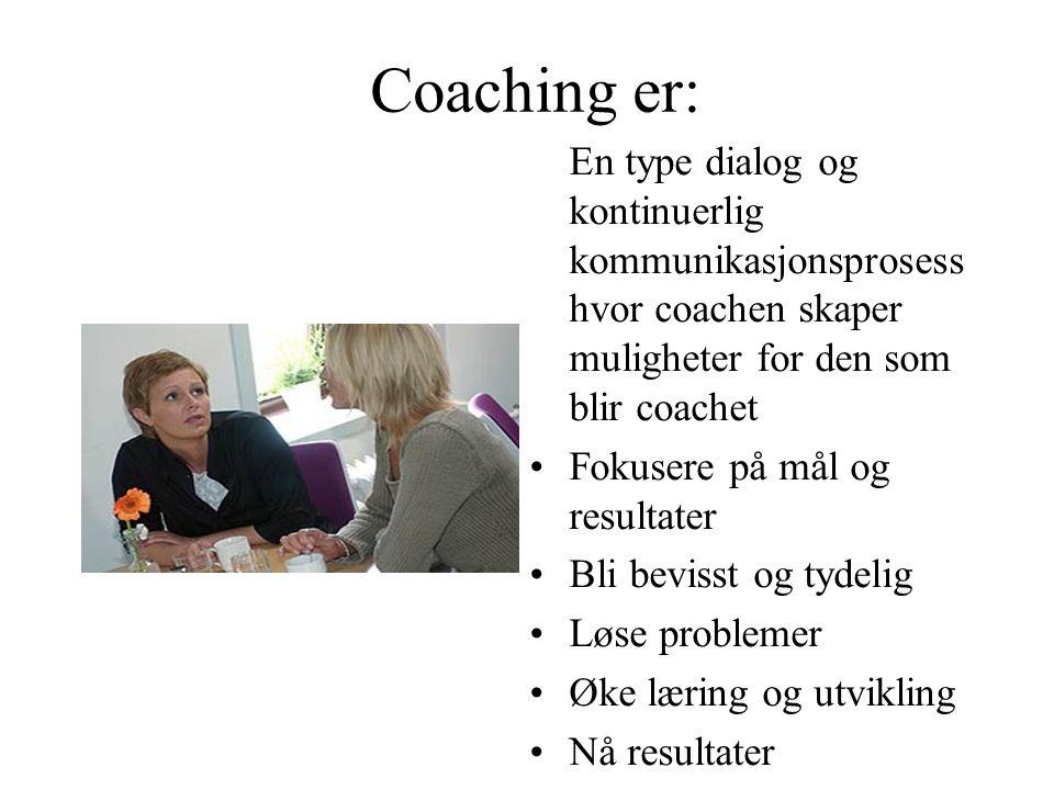 Coaching er: En type dialog og kontinuerlig kommunikasjonsprosess hvor coachen skaper muligheter for den som blir coachet.