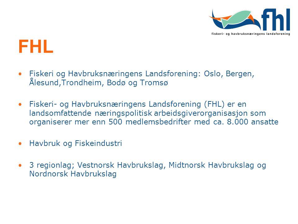 FHL Fiskeri og Havbruksnæringens Landsforening: Oslo, Bergen, Ålesund,Trondheim, Bodø og Tromsø.