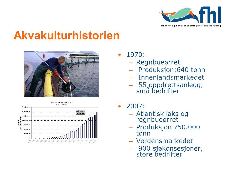 Akvakulturhistorien 1970: Regnbueørret Produksjon:640 tonn