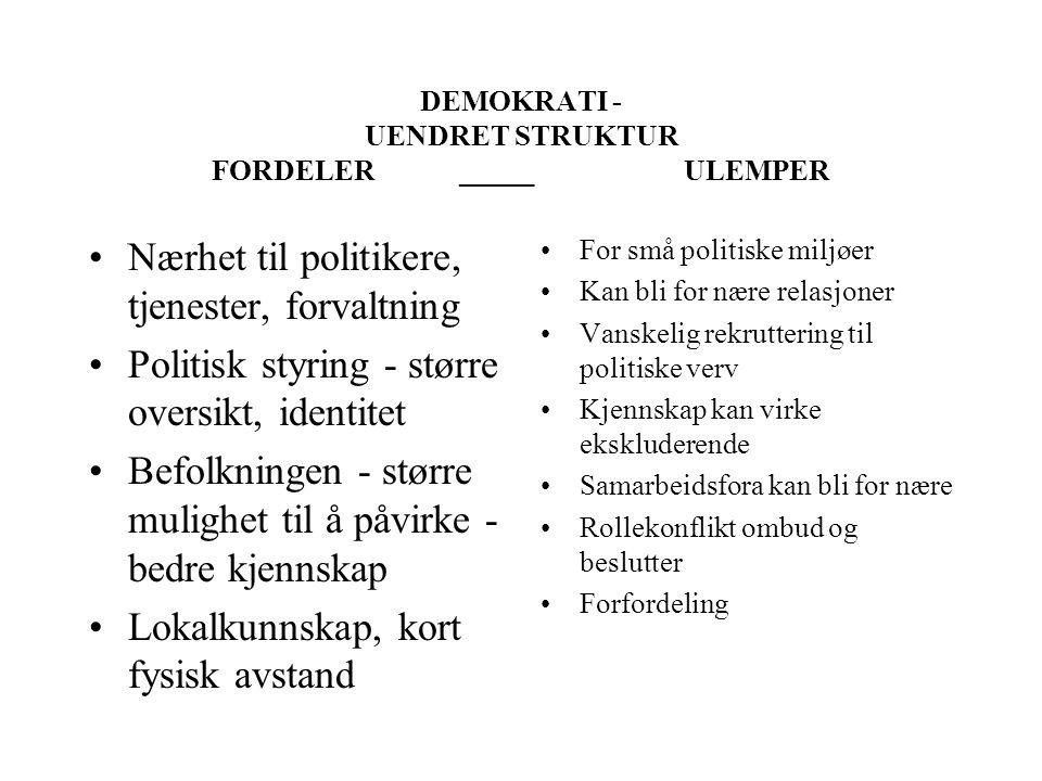 DEMOKRATI - UENDRET STRUKTUR FORDELER _____ ULEMPER
