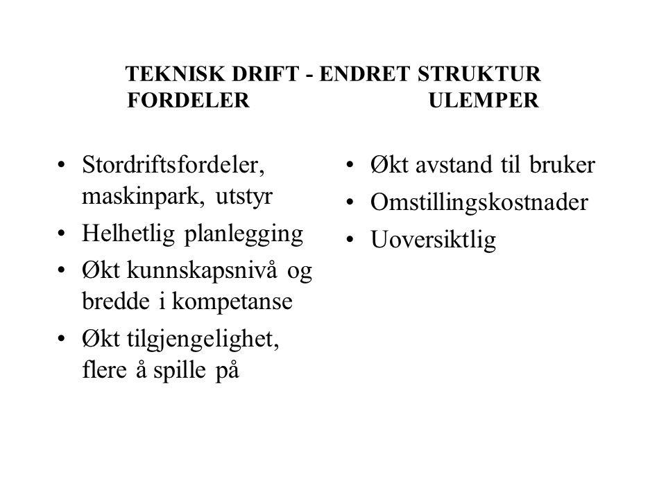 TEKNISK DRIFT - ENDRET STRUKTUR FORDELER ULEMPER