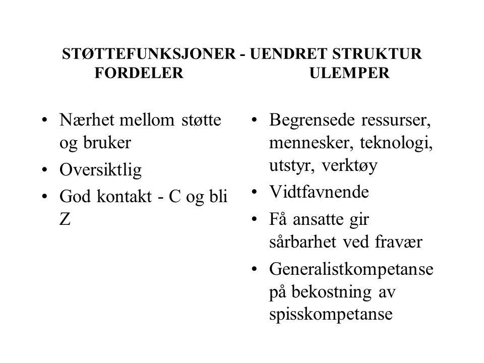 STØTTEFUNKSJONER - UENDRET STRUKTUR FORDELER ULEMPER