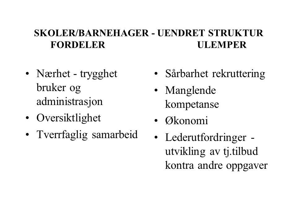 SKOLER/BARNEHAGER - UENDRET STRUKTUR FORDELER ULEMPER
