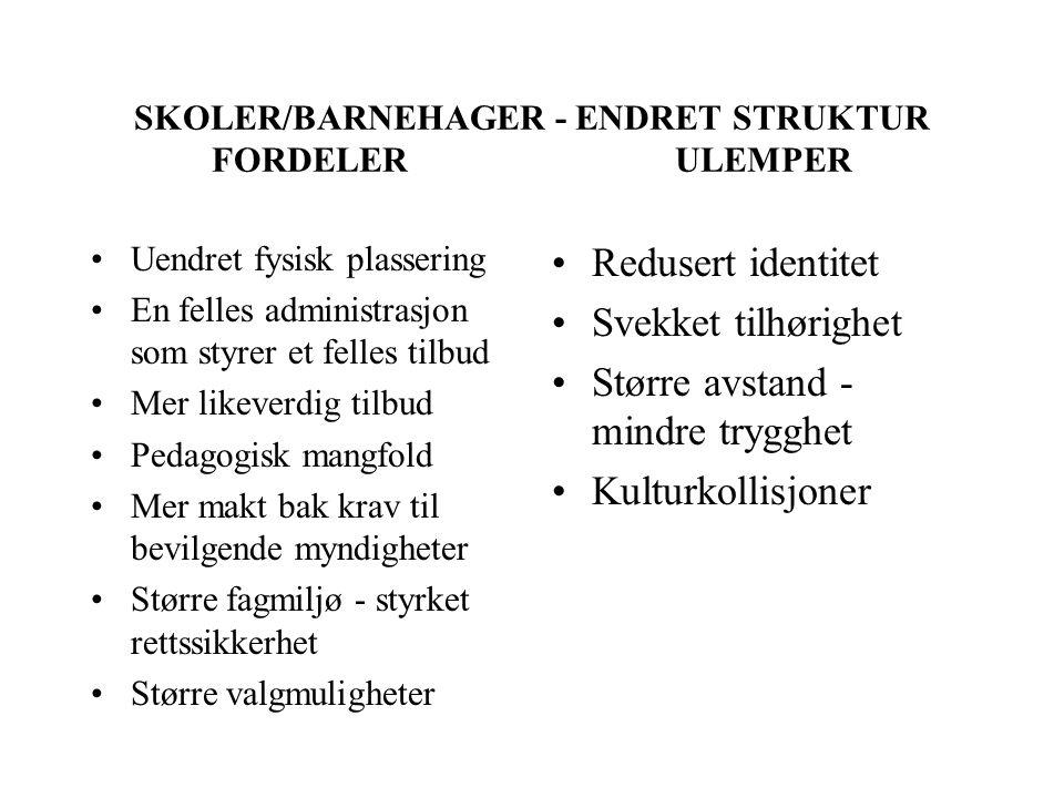 SKOLER/BARNEHAGER - ENDRET STRUKTUR FORDELER ULEMPER