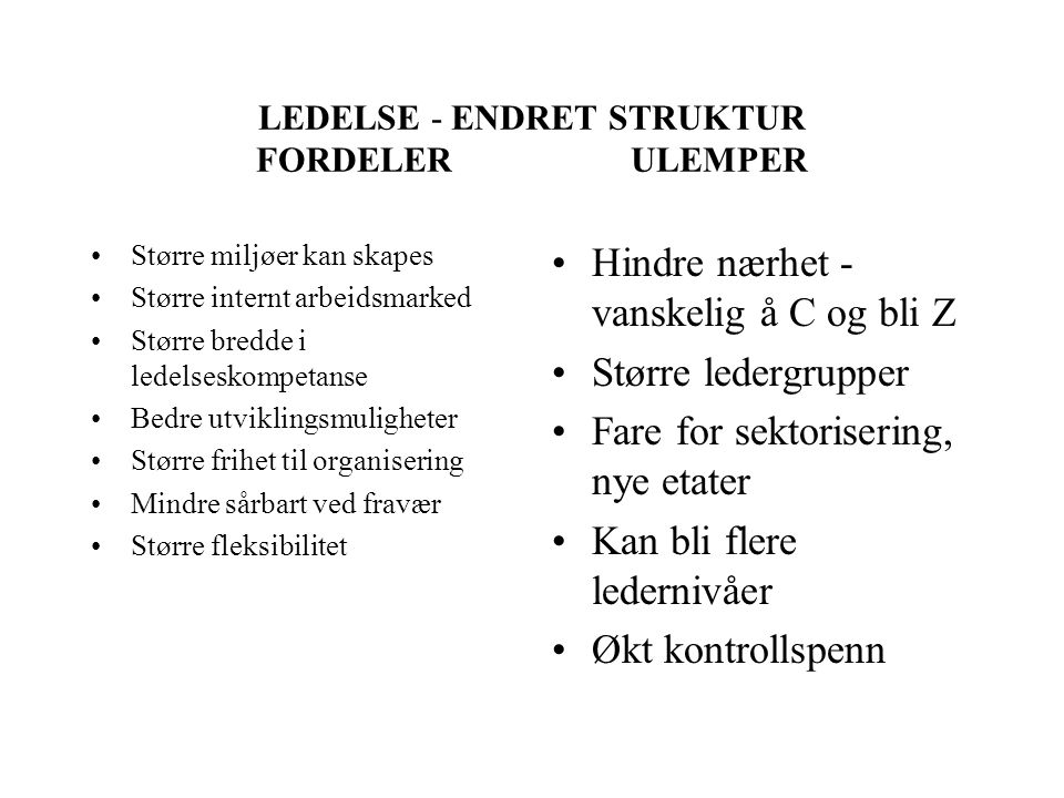 LEDELSE - ENDRET STRUKTUR FORDELER ULEMPER