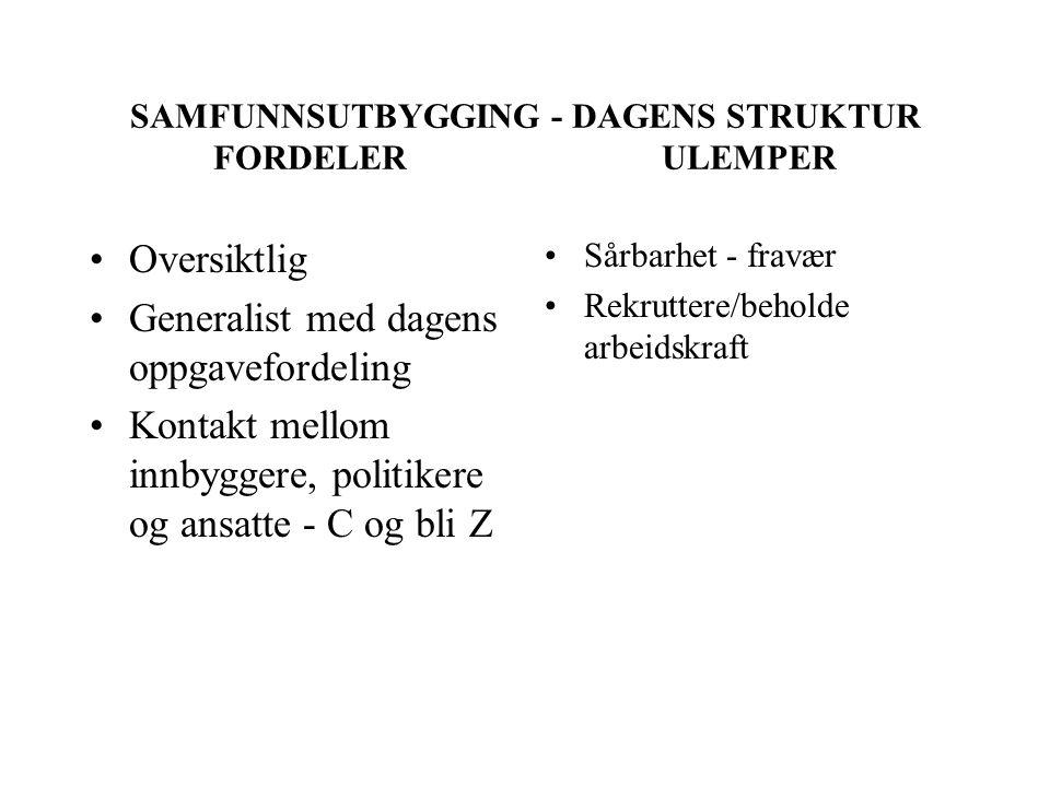 SAMFUNNSUTBYGGING - DAGENS STRUKTUR FORDELER ULEMPER