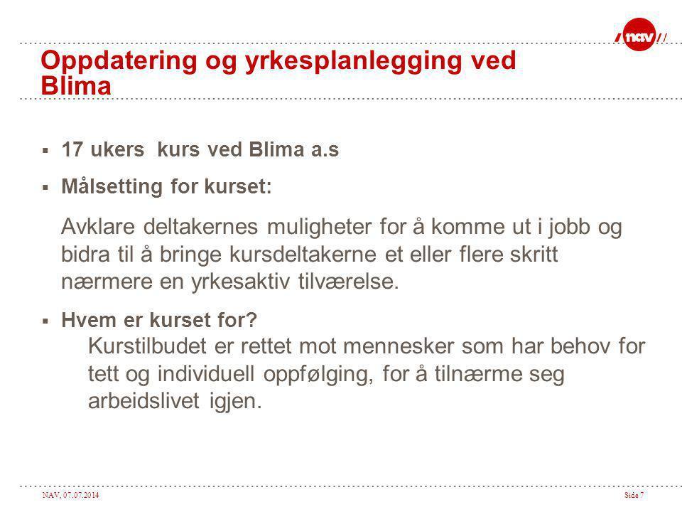Oppdatering og yrkesplanlegging ved Blima