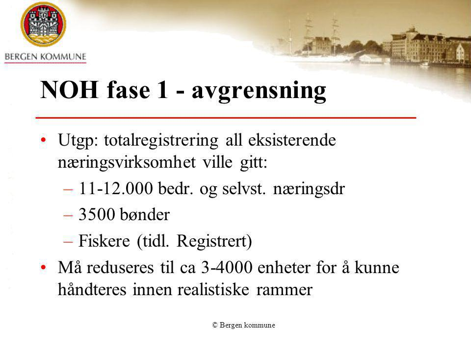 NOH fase 1 - avgrensning Utgp: totalregistrering all eksisterende næringsvirksomhet ville gitt: 11-12.000 bedr. og selvst. næringsdr.