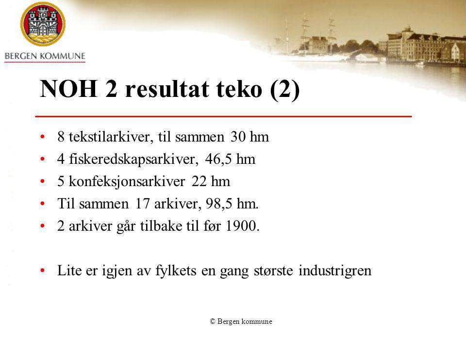 NOH 2 resultat teko (2) 8 tekstilarkiver, til sammen 30 hm