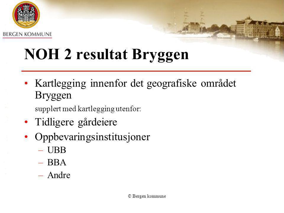 NOH 2 resultat Bryggen Kartlegging innenfor det geografiske området Bryggen. supplert med kartlegging utenfor: