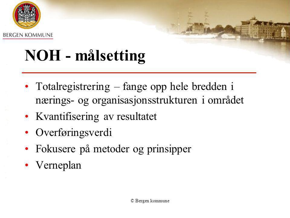 NOH - målsetting Totalregistrering – fange opp hele bredden i nærings- og organisasjonsstrukturen i området.