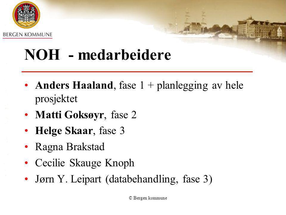 NOH - medarbeidere Anders Haaland, fase 1 + planlegging av hele prosjektet. Matti Goksøyr, fase 2.