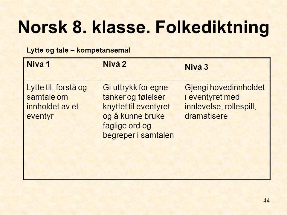 Norsk 8. klasse. Folkediktning