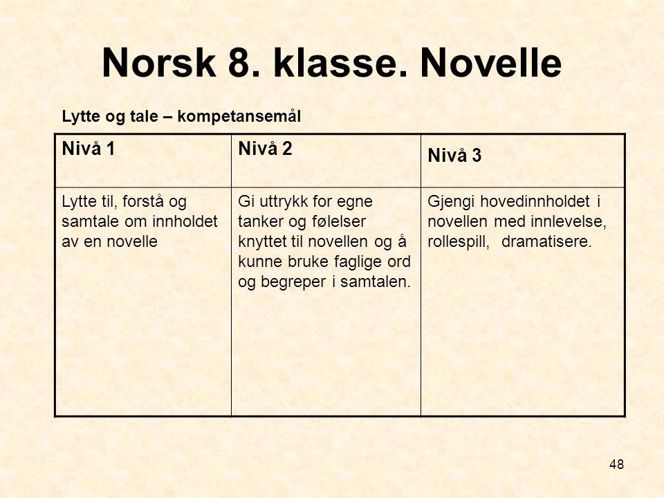 Norsk 8. klasse. Novelle Nivå 1 Nivå 2 Nivå 3